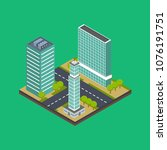 isometric city building... | Shutterstock .eps vector #1076191751