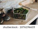 golden wedding rings lie on... | Shutterstock . vector #1076196635