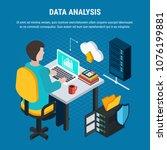 data analysis isometric... | Shutterstock .eps vector #1076199881