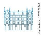 europe antique building on blue ... | Shutterstock .eps vector #1076203745