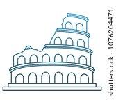 rome coliseum monument on blue... | Shutterstock .eps vector #1076204471