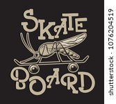 skateboard. vector placard with ... | Shutterstock .eps vector #1076204519