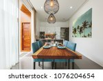 modern kitchen and living room... | Shutterstock . vector #1076204654