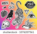 set of fashion patches. tattoo... | Shutterstock .eps vector #1076207561