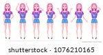 girl teenager in fashionable... | Shutterstock .eps vector #1076210165