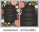 wedding invitation and menu...   Shutterstock .eps vector #1076214881