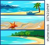 vector summer travel banners... | Shutterstock .eps vector #1076216969