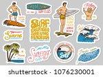 vintage surfer badges. tropical ... | Shutterstock .eps vector #1076230001