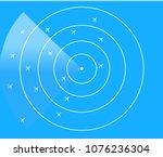 blue radar screen with planes ... | Shutterstock .eps vector #1076236304