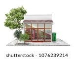 business concept. store with... | Shutterstock . vector #1076239214