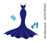 set of fashion evening clothes. ... | Shutterstock .eps vector #1076239265