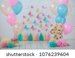 the decor of the first birthday | Shutterstock . vector #1076239604