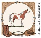 cowboy horse equine riding tack ... | Shutterstock .eps vector #1076257385