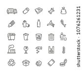 garbage related icons  thin... | Shutterstock .eps vector #1076261231