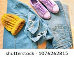 flat lay youth fashion photo.... | Shutterstock . vector #1076262815