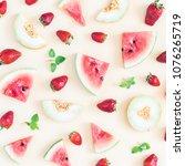 fruit pattern. watermelon ...   Shutterstock . vector #1076265719
