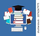 online education  library and e ...   Shutterstock .eps vector #1076267975