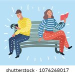 vector cartoon illustration of... | Shutterstock .eps vector #1076268017