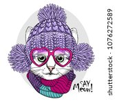 Stock vector vector cat with pink glasses knitted violet hat and scarf hand drawn illustration of dressed cat 1076272589