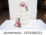great white wedding cake... | Shutterstock . vector #1076286221