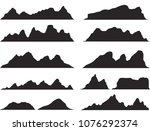 set of black and white mountain ... | Shutterstock .eps vector #1076292374