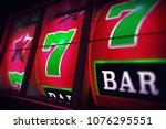 lucky slot jackpot spin 3d one... | Shutterstock . vector #1076295551