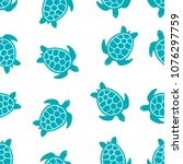 seamless pattern with turtle... | Shutterstock .eps vector #1076297759