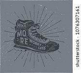vintage hand drawn hiking boots ... | Shutterstock .eps vector #1076307161