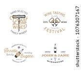 wine shop badges templates in... | Shutterstock .eps vector #1076307167