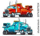 wrecker service cartoon truck | Shutterstock .eps vector #1076307524
