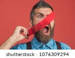 scared bearded man glued his...   Shutterstock . vector #1076309294