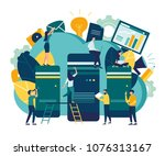 server room for network and... | Shutterstock .eps vector #1076313167