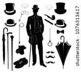 elegant gentleman  vintage... | Shutterstock .eps vector #1076313617