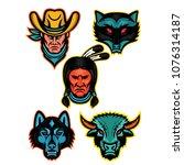 mascot icon illustration set of ... | Shutterstock .eps vector #1076314187
