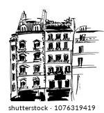 ink sketch of buildings. hand... | Shutterstock .eps vector #1076319419