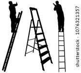 silhouette worker climbing the... | Shutterstock . vector #1076321357