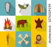 prehistoric icons set. cartoon... | Shutterstock .eps vector #1076329199