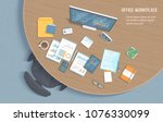 top view of office workplace... | Shutterstock .eps vector #1076330099