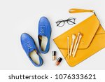 flat lay of female fashion... | Shutterstock . vector #1076333621