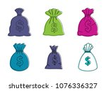 money bag icon set. color...