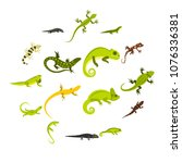 flat lizard icons set.... | Shutterstock .eps vector #1076336381