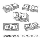 dollar banknotes money bundles... | Shutterstock .eps vector #1076341211