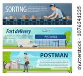 post mail delivery and postage... | Shutterstock .eps vector #1076341235