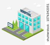 hospital building isometric... | Shutterstock .eps vector #1076342051
