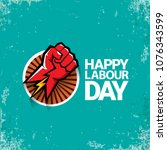 1 may happy labour day vector... | Shutterstock .eps vector #1076343599