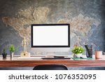 comfortable workplace with... | Shutterstock . vector #1076352095