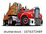 cartoon retro logging truck... | Shutterstock .eps vector #1076372489