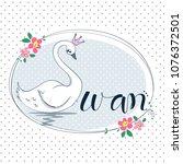 beautiful princess swan in oval ... | Shutterstock .eps vector #1076372501