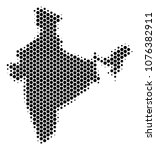 halftone hexagonal india map.... | Shutterstock .eps vector #1076382911