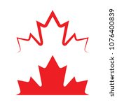 two canadian maple leaves in... | Shutterstock .eps vector #1076400839